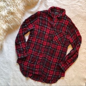 Topshop Red Plaid Button Down with Silver Trim